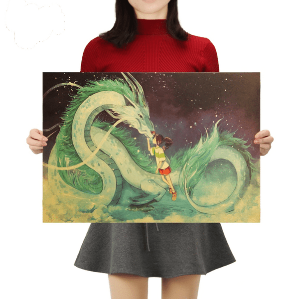 Spirited Away Chihiro and Haku Kraft Paper Poster