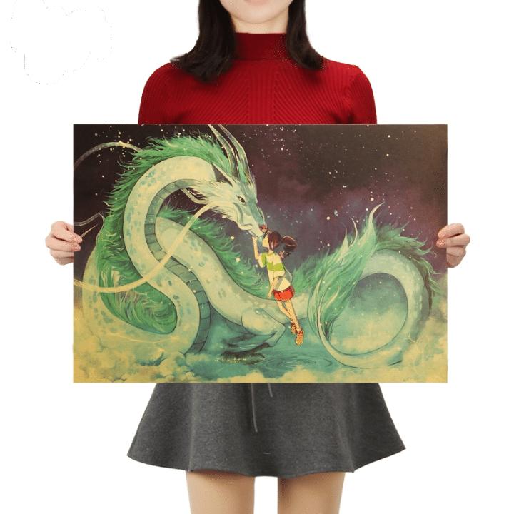 Spirited Away Chihiro and Haku Kraft Paper Poster