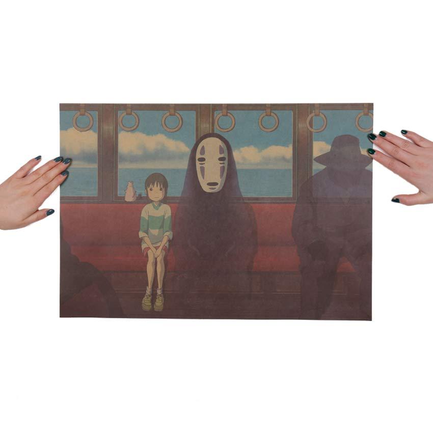 Spirited Away No Face and Chihiro Retro Poster