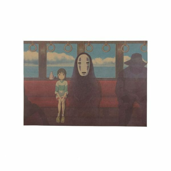Spirited Away No Face and Chihiro Retro Poster