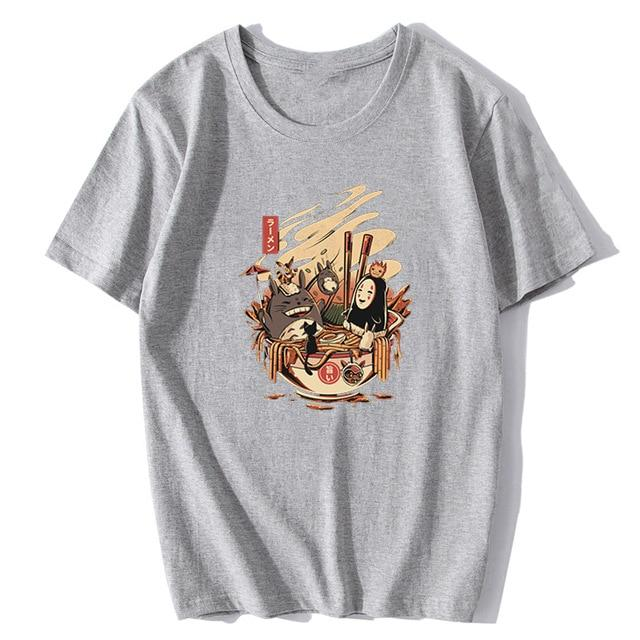 Totoro and No Face Ramen Bath Cotton T-shirt - ghibli.store