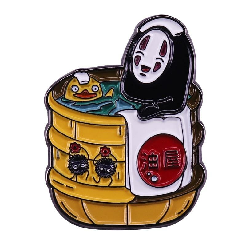 Spirited Away Kaonashi No face in Bathtub Badge Pins - ghibli.store