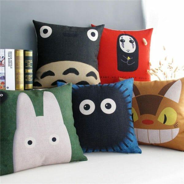 Ghibli Characters Watercolor Pillow Cover - ghibli.store