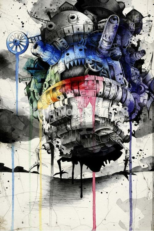 Howl's Moving Castle Colorful Poster - ghibli.store