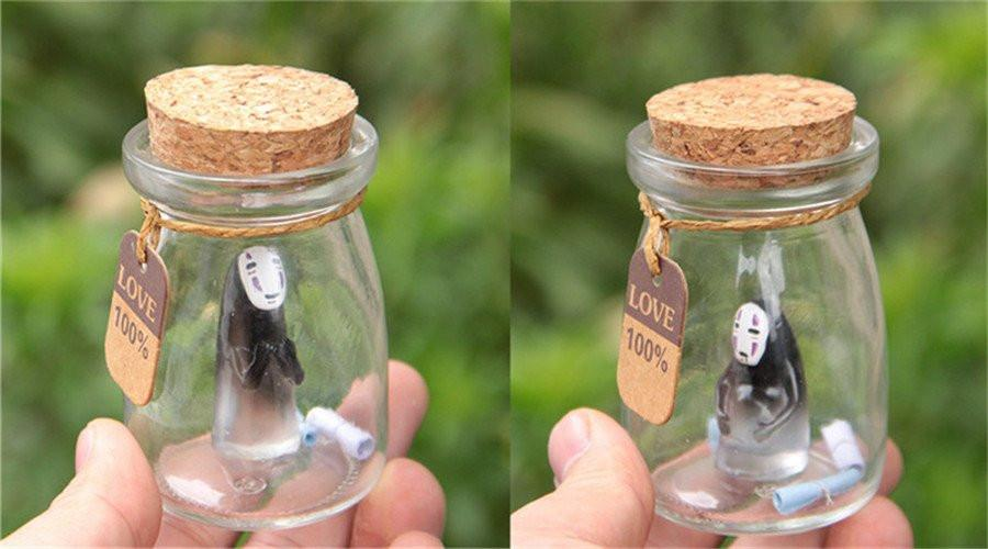 Spirited Away NO Face Kaonashi Glass Bottle Ornaments Figure - ghibli.store