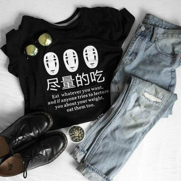 """Kaonashi No Face """"Eat Whatever You Want"""" T Shirt For Woman - ghibli.store"""