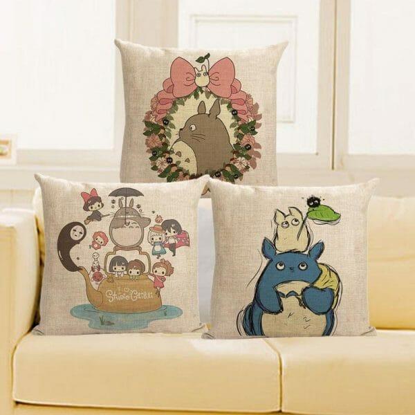 My Neighbor Totoro Ghibli Characters Linen Throw Pillow Cover - ghibli.store