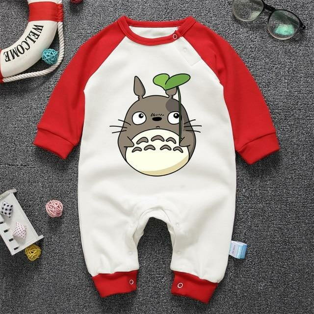 My Neighbor Totoro with Leaf Onesies Long Sleeve for Baby 10 Colors - ghibli.store