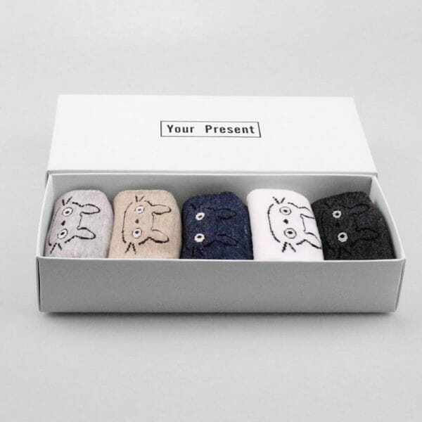 My Neighbor Totoro Cute Fluffy Ears Socks 5 Pairs/Box