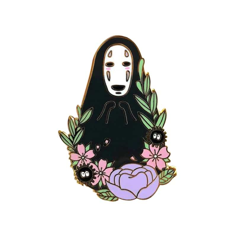 Spirit Away No Face Kaonashi With The Flowers Badge Pin