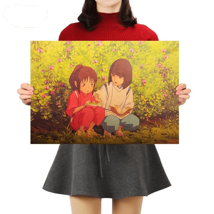 Spirited Away Chihiro And Haku Retro Kraft Paper Poster