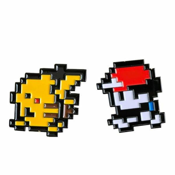 Pokemon Ash Ketchum And Pikachu 8 Bit Badge Pins