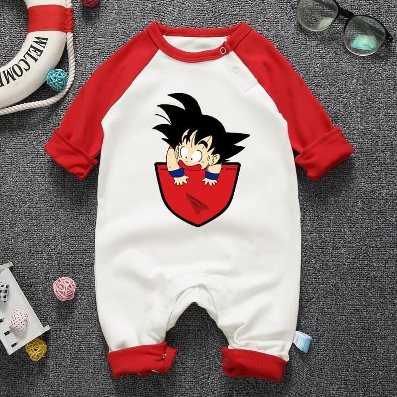 Dragon Ball Son Goku in Pocket Long Sleeve Baby Onesies