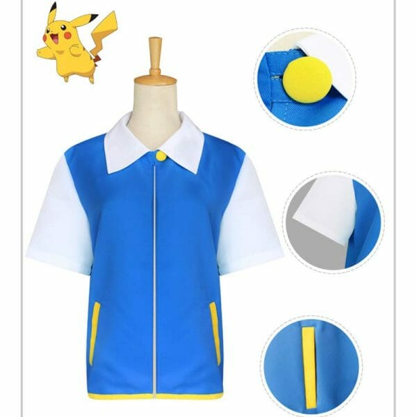 Pokemon Ash Ketchum Satoshi Cosplay Costume For Kid and Adult
