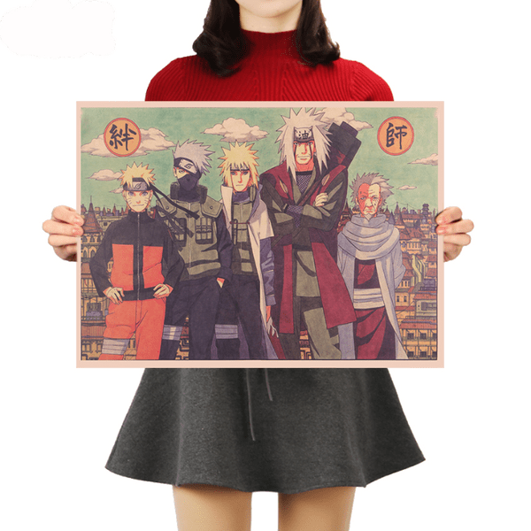 Naruto with The Hokages Wall Poster