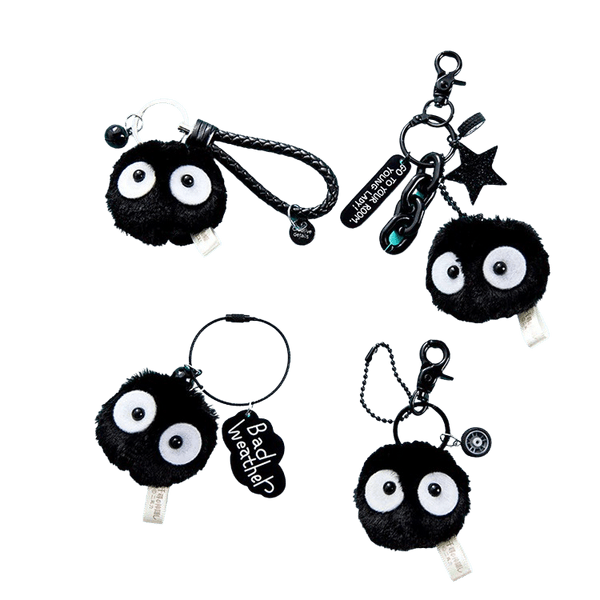 Spirited Away Soot Sprites Plush Keychain With Accessories