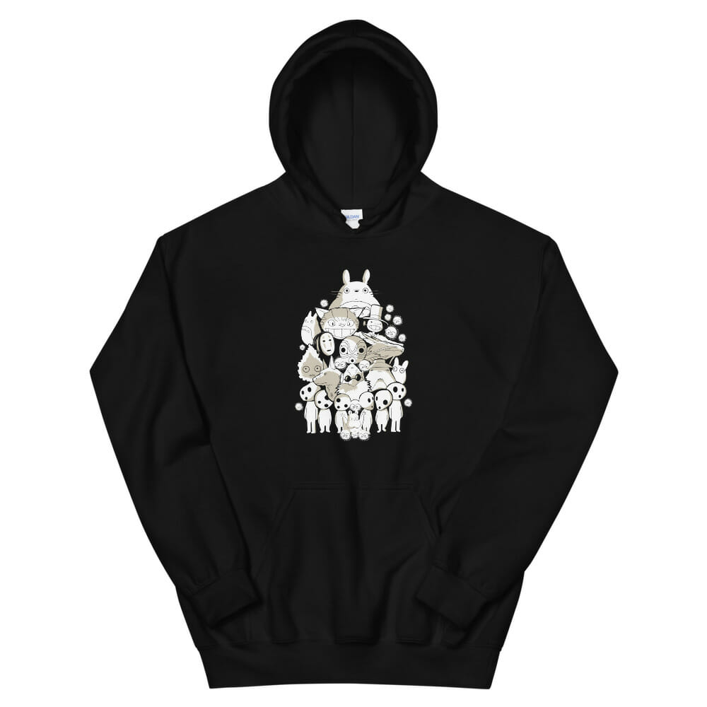 Ghibli Movie Characters Compilation in Black and White Hoodie Unisex
