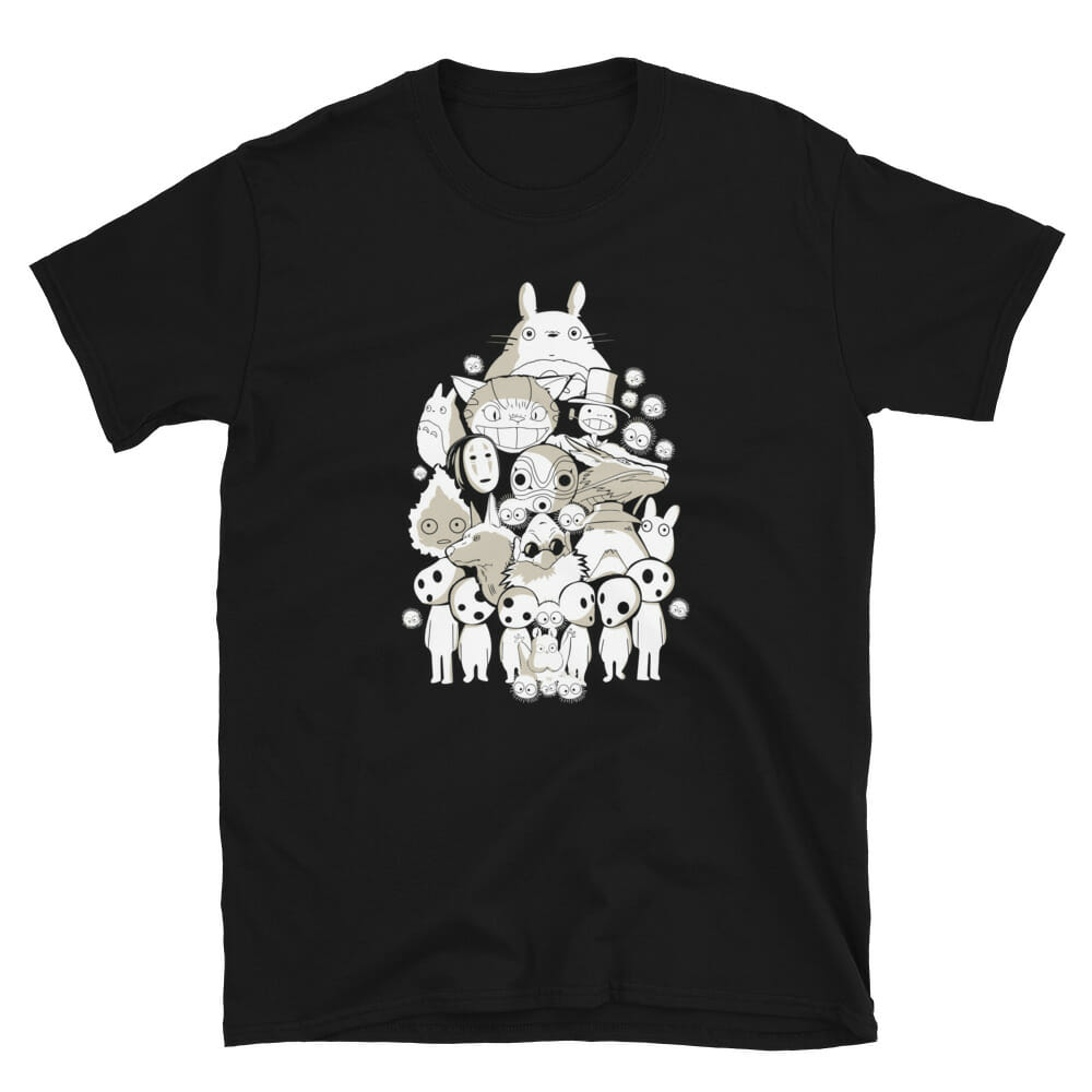 Ghibli Movie Characters Compilation in Black and White T Shirt Unisex