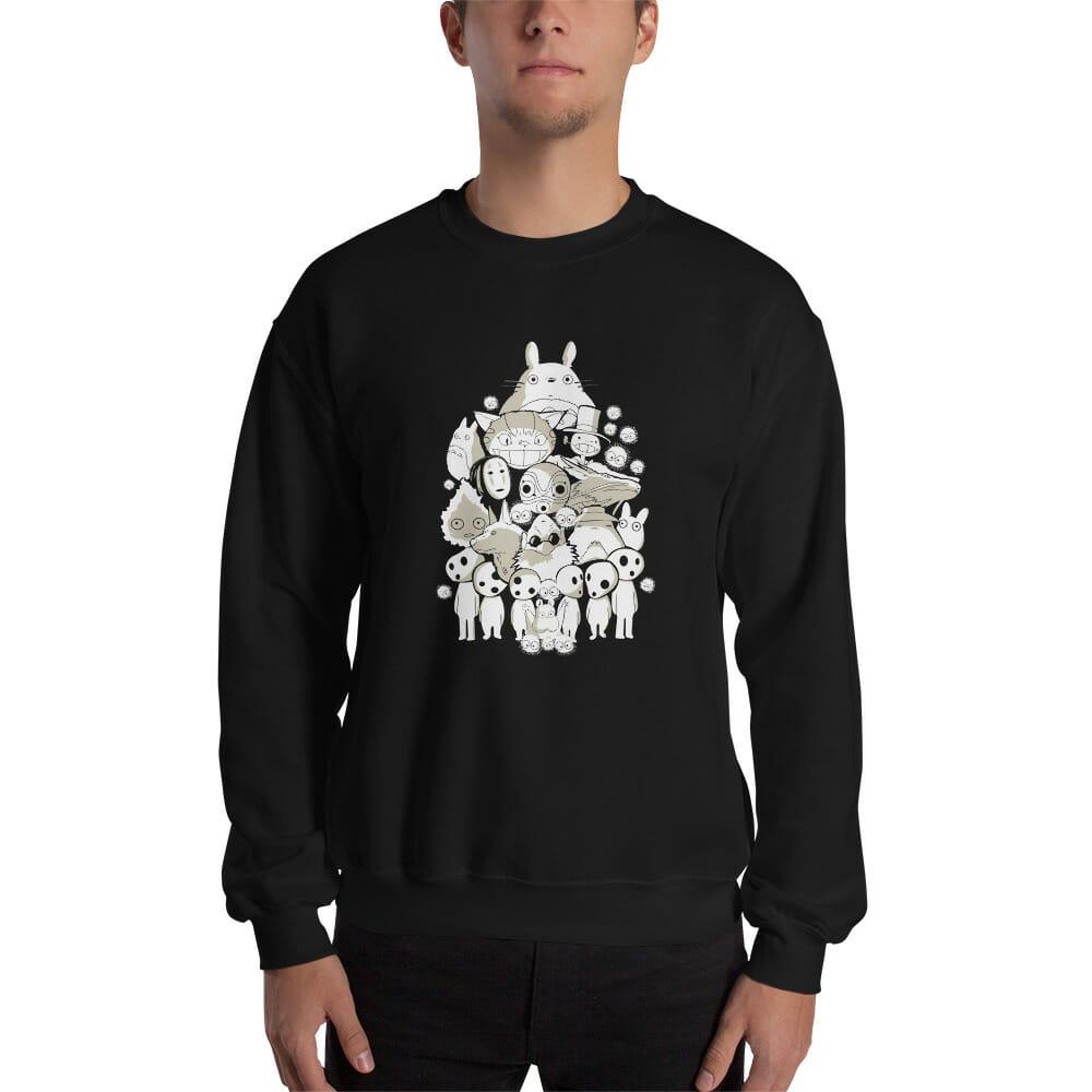 Ghibli Movie Characters Compilation in Black and White Sweatshirt Unisex