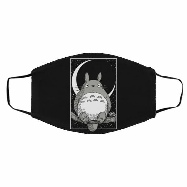 My Neighbor Totoro by the Moon Black & White Face Mask