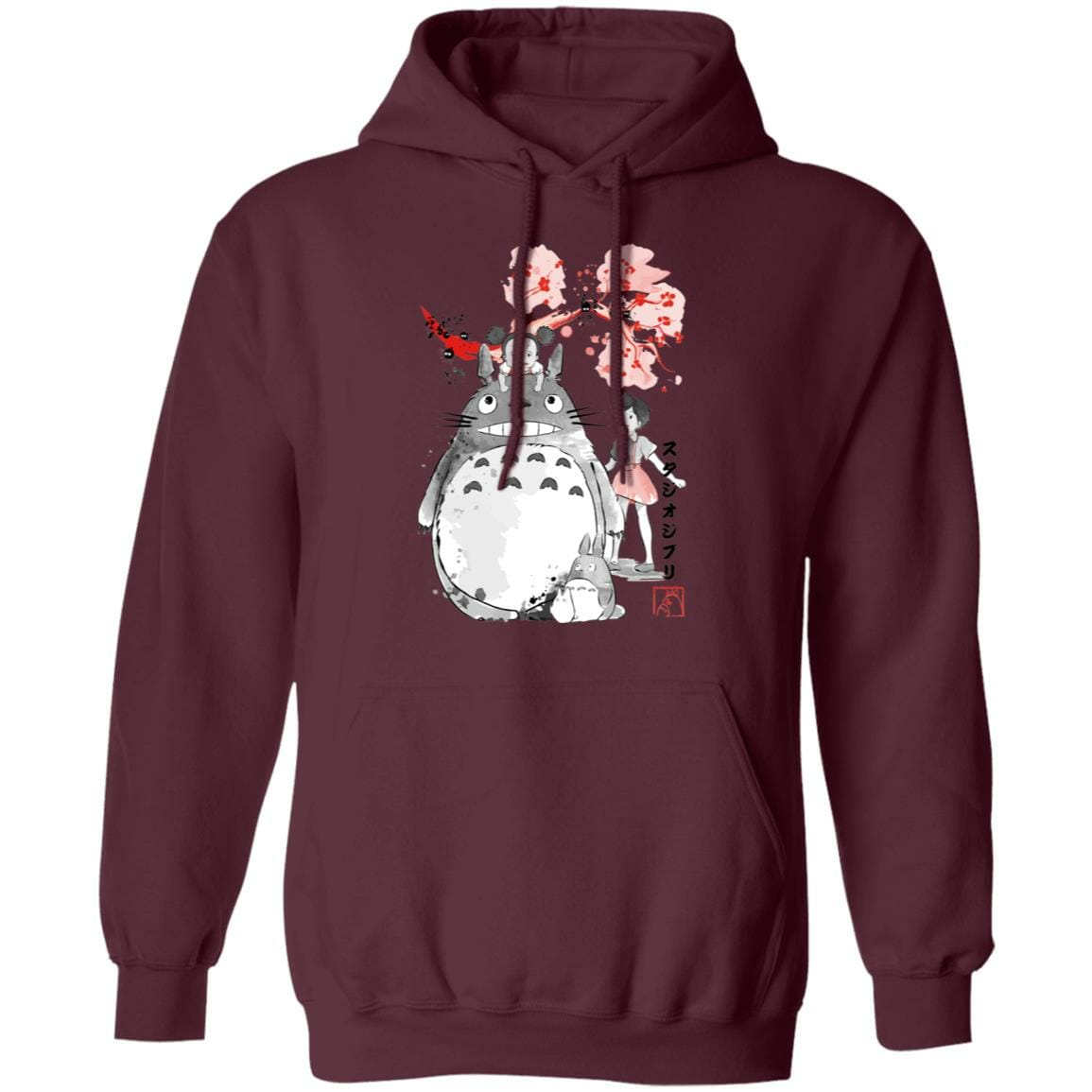 Totoro and the Girls by Sakura Flower Hoodie