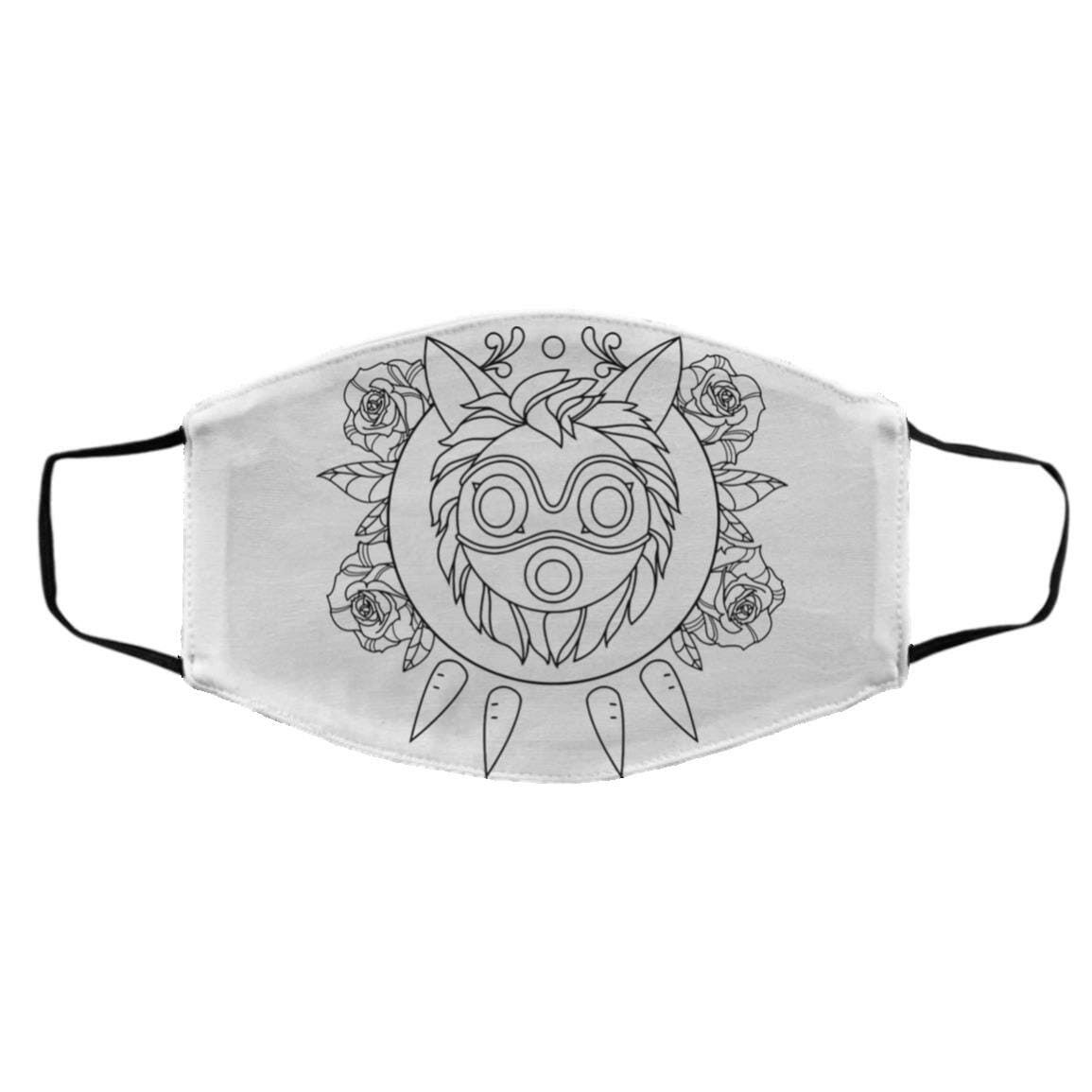 Princess Mononoke Mask in Black and White Face Mask
