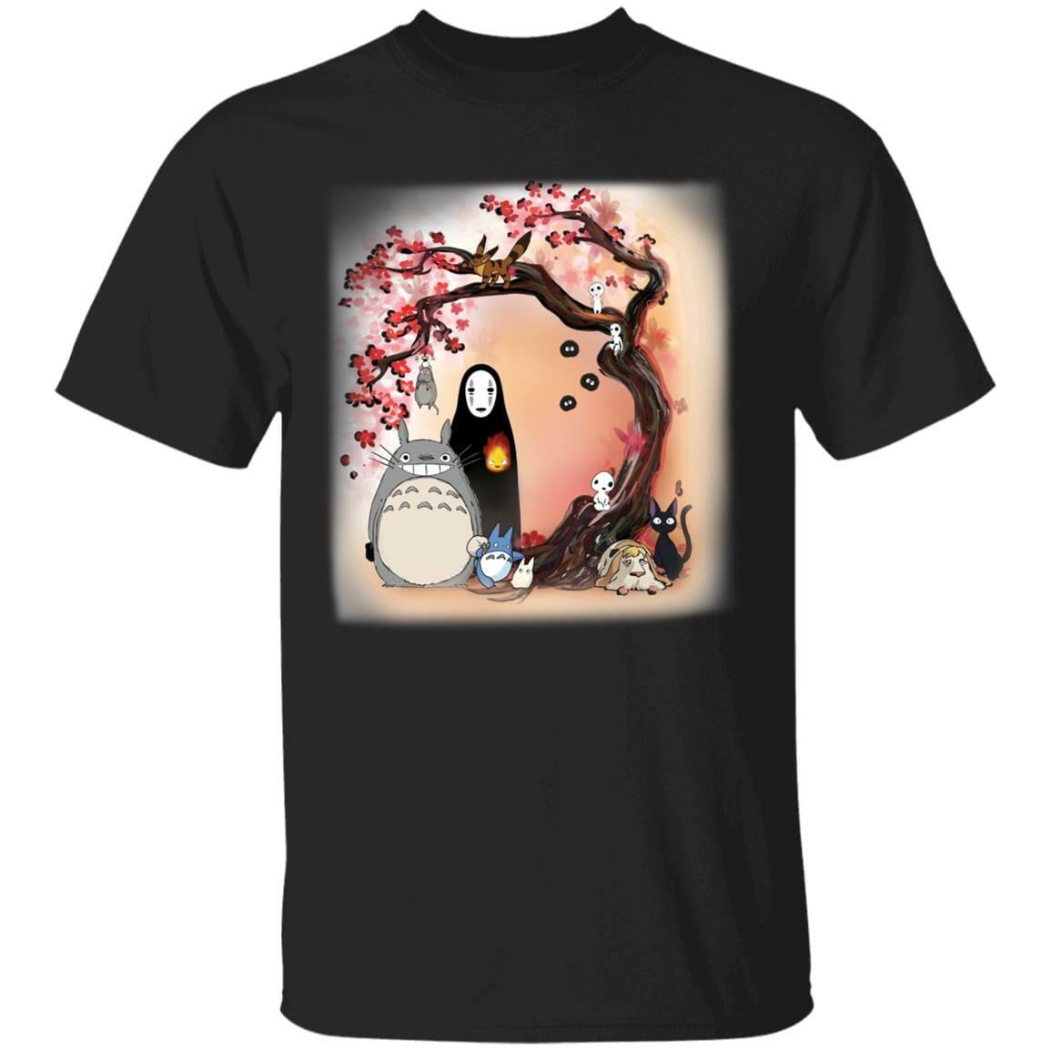 Totoro and Ghibli Friends under the Sakura T Shirt