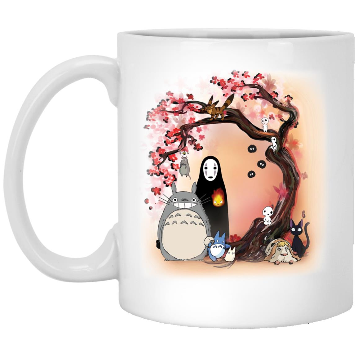 Totoro and Ghibli Friends under the Sakura Mug