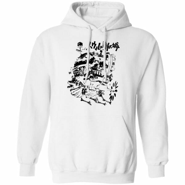 Customcat Howl's Castle in Black and White Hoodie