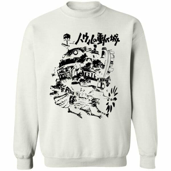 Customcat Howl's Castle in Black and White Sweatshirt