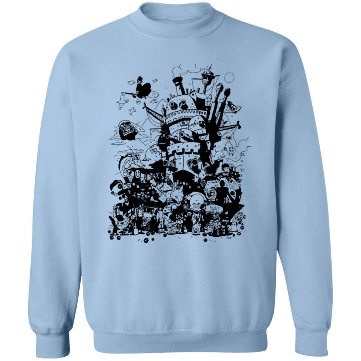 Studio Ghibli Art Collection Black and White Sweatshirt