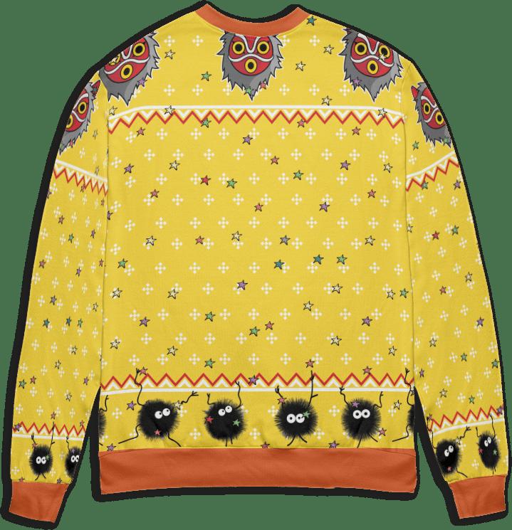 Totoro and No Face riding Haku 3D Ugly Christmas Sweater