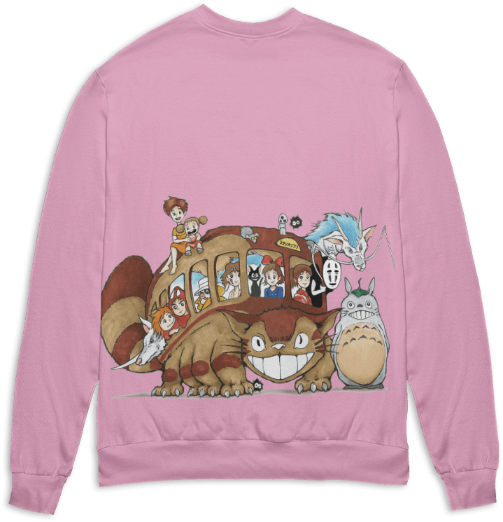 Ghibli Characters on Cat Bus 3D Sweater