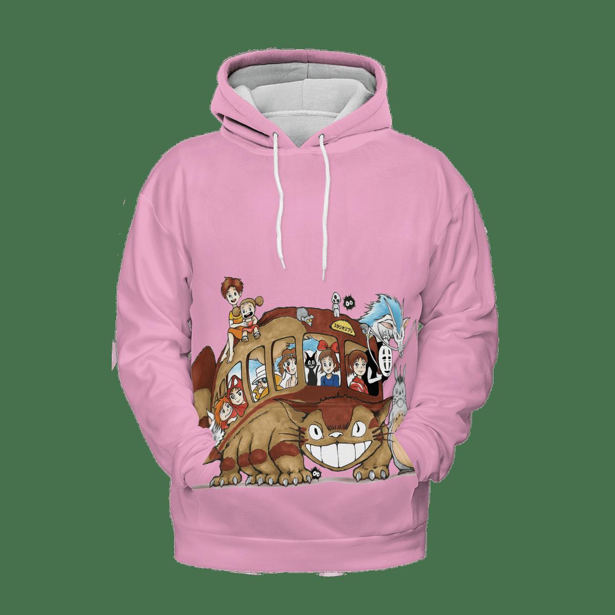 Ghibli Characters on Cat Bus 3D Hoodie