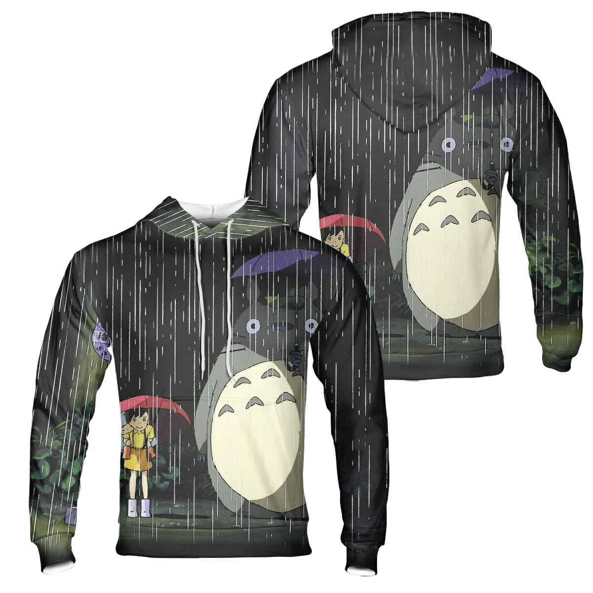 Totoro and The Sisters at the Bus Stop 3D Hoodie