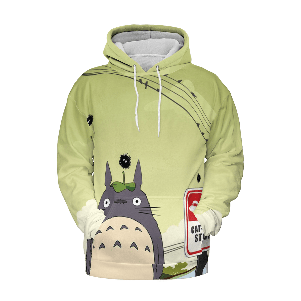Totoro at the Cat Bus Stop 3D Hoodie
