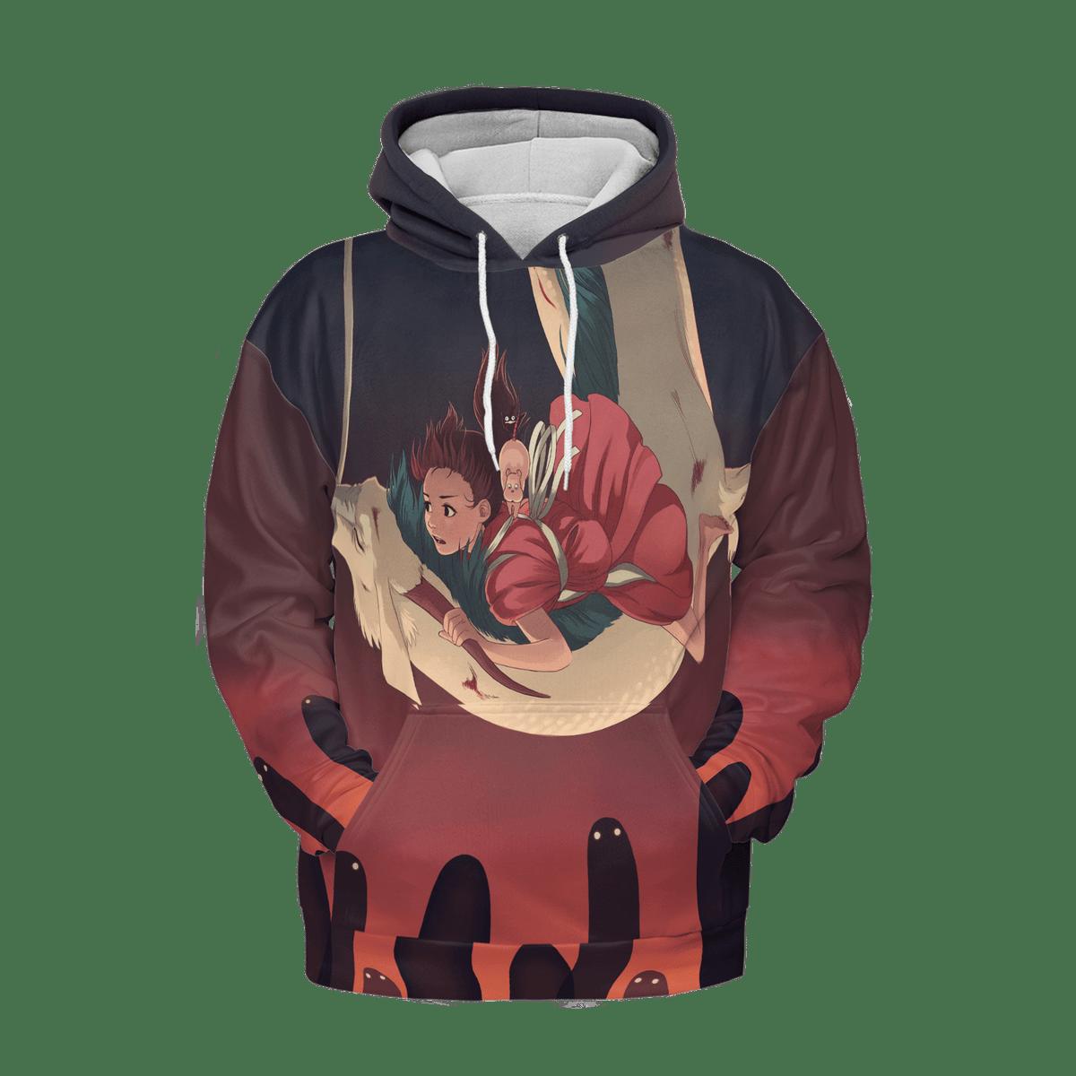 Spirited Away – Sen riding Haku 3D Hoodie