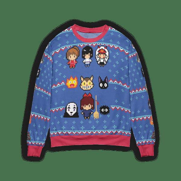 Ghibli Chibi 8bit Ugly Christmas Sweater