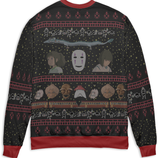 Spirited Away Characters Ugly Christmas Sweater Style 1