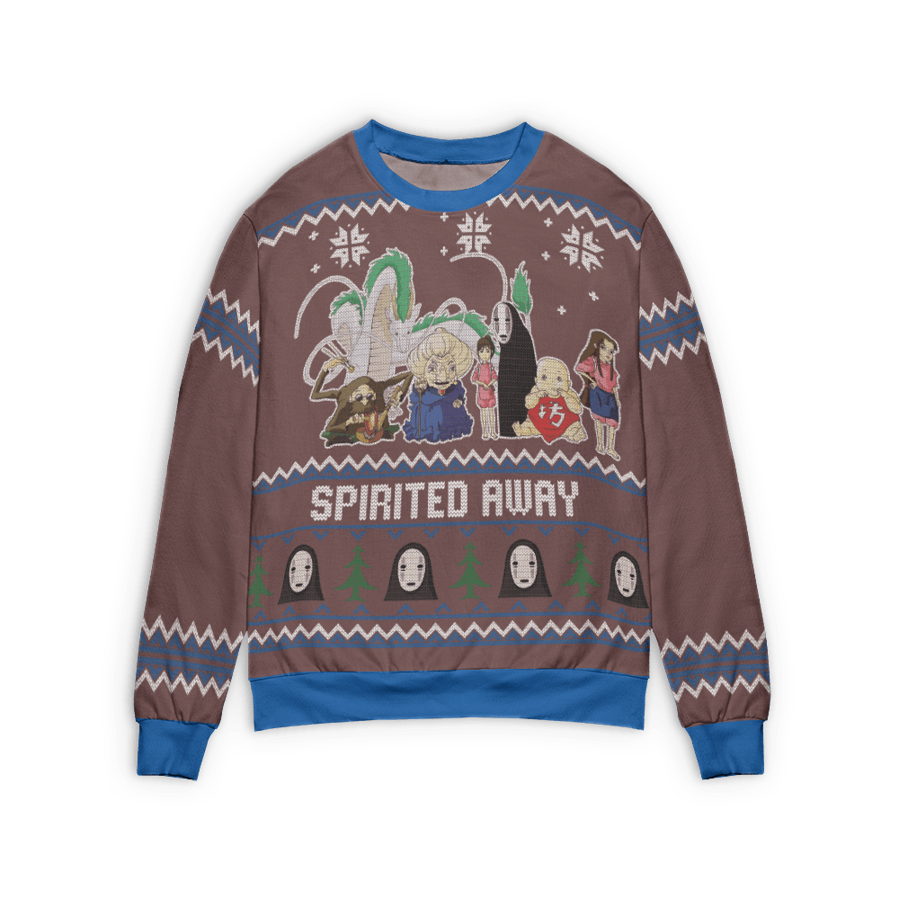 Spirited Away Characters Ugly Christmas Sweater Style 3