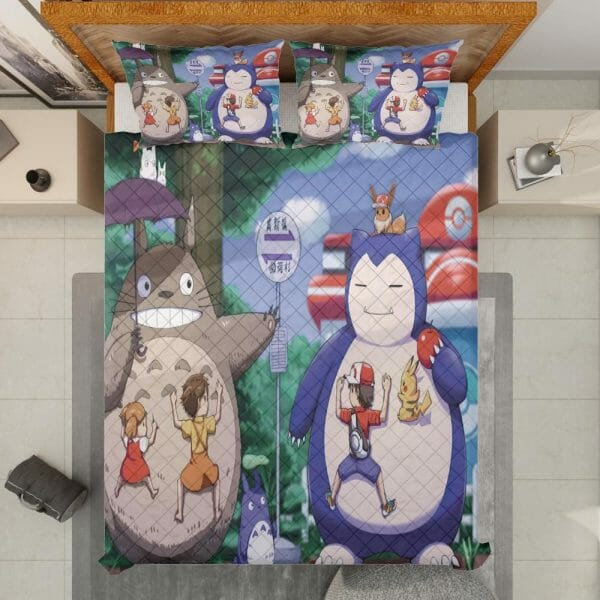 Totoro and Snorlax At The Bus Stop Quilt Bedding Set