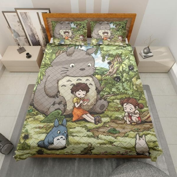 Totoro and The Girls Quilt Bedding Set