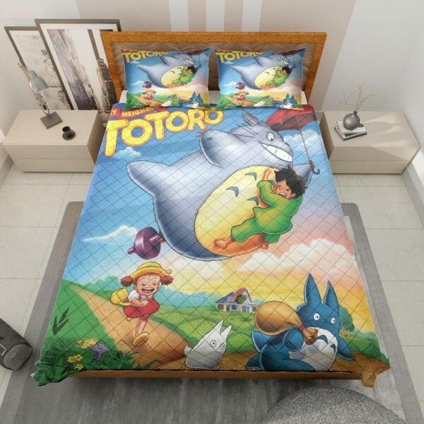 Umbrella Totoro Colorful Quilt Bedding Set