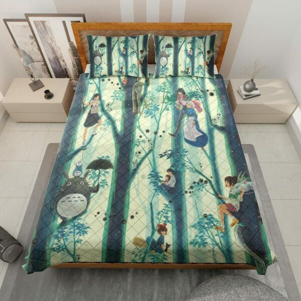 Totoro and Friends in The Jungle Quilt Bedding Set