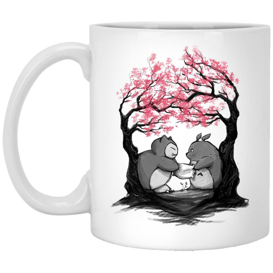 Totoro vs Snorlax Pillow fight Mug