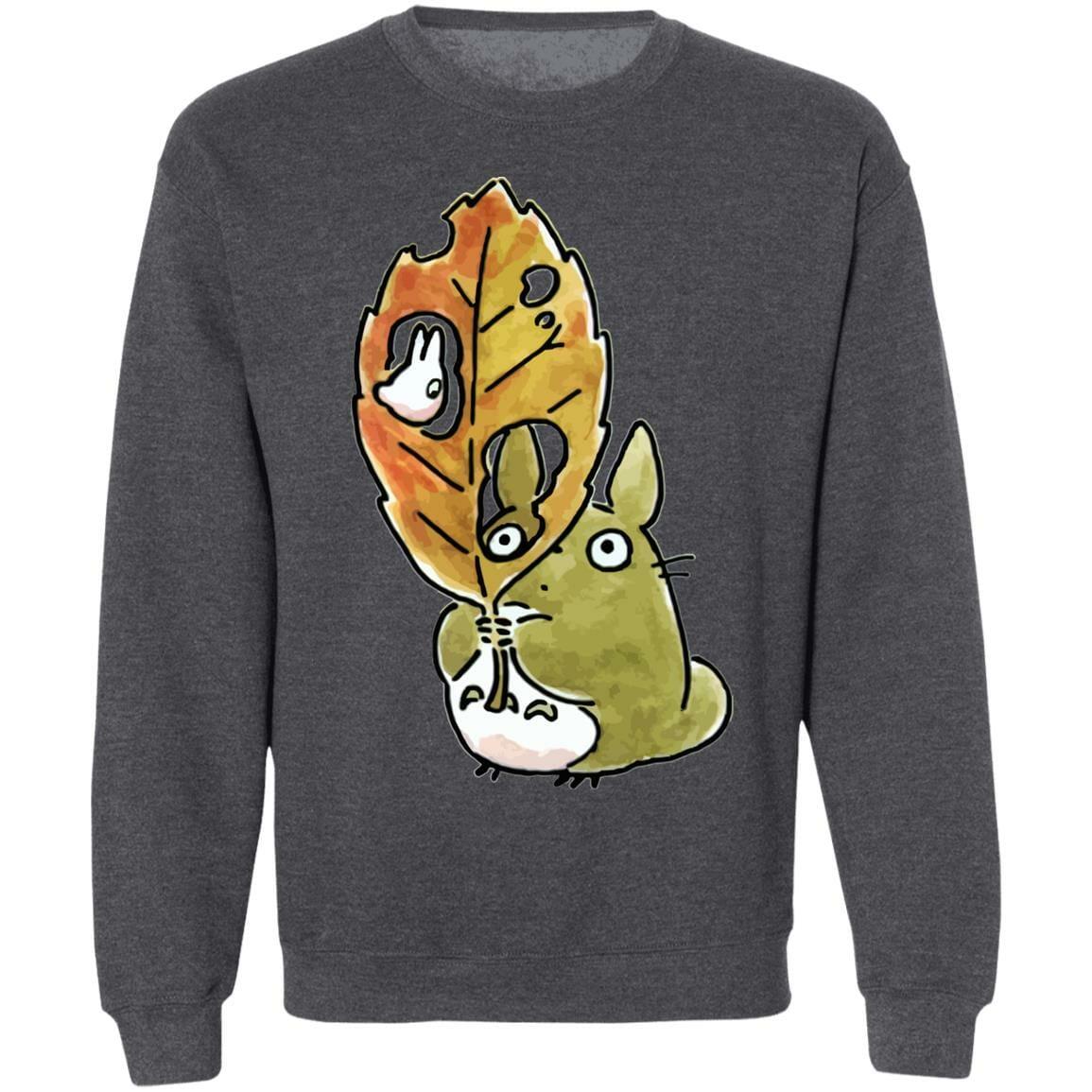 Totoro and the Big Leaf Cute Drawing Sweatshirt