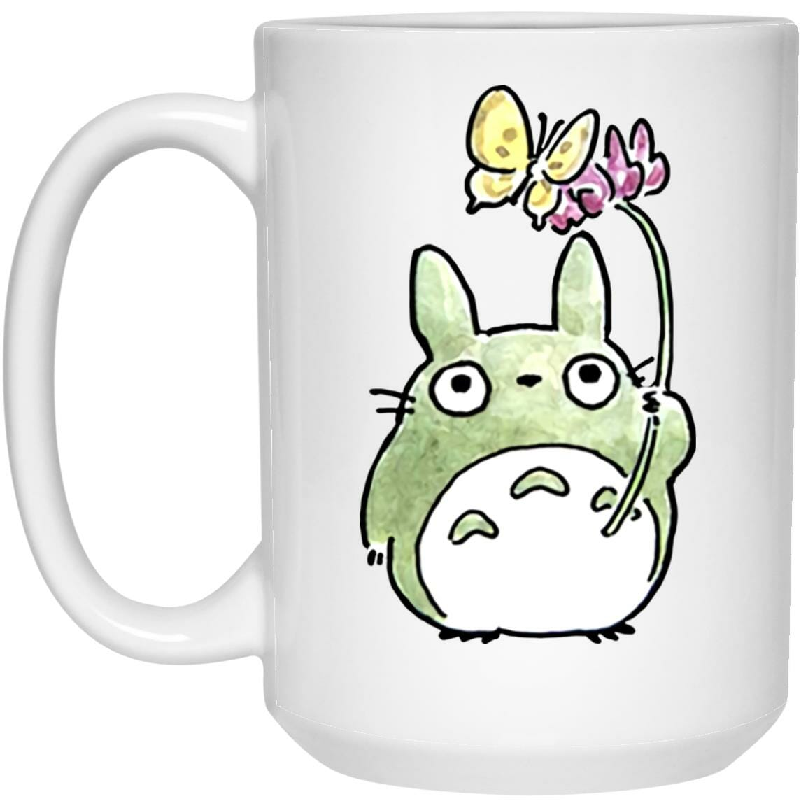Totoro with Butterfly Cute Drawing Mug