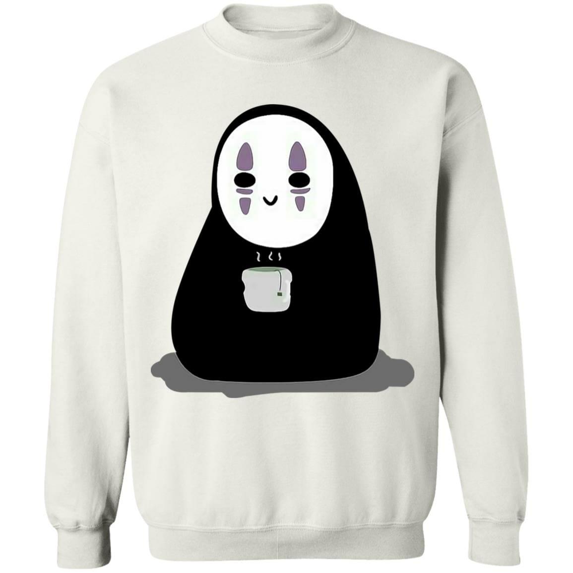 Cute No Face Kaonashi Drinking Hot Tea Sweatshirt