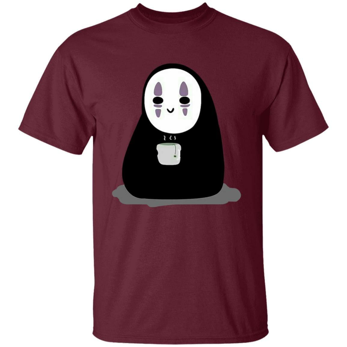 Cute No Face Kaonashi Drinking Hot Tea T Shirt